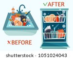 sink dirty dishes and open... | Shutterstock .eps vector #1051024043