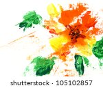 painted abstract flower on a... | Shutterstock . vector #105102857