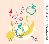 fruits in a bowl vector... | Shutterstock .eps vector #1051034183
