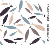seamless fish pattern. colorful ... | Shutterstock .eps vector #1051035923