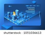 cryptocurrency mining concept.... | Shutterstock .eps vector #1051036613