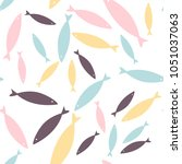seamless fish pattern. colorful ... | Shutterstock .eps vector #1051037063