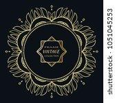 golden frame template with... | Shutterstock .eps vector #1051045253