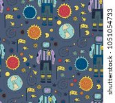 seamless vector pattern with... | Shutterstock .eps vector #1051054733