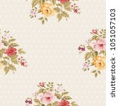 seamless floral pattern with... | Shutterstock .eps vector #1051057103