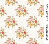 seamless floral pattern with... | Shutterstock .eps vector #1051057127