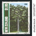 Small photo of NEW ZEALAND - CIRCA 1989: stamp printed by New Zealand, shows Trees, Totara, circa 1989