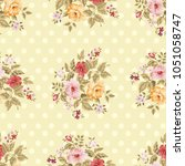 seamless floral pattern with... | Shutterstock .eps vector #1051058747