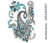 paisley. detailed hand drawn... | Shutterstock .eps vector #1051095557