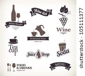 Labels set: food and drinks, restaurant and cafe - stock vector