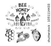 set of badge honey. hand drawn... | Shutterstock .eps vector #1051114433