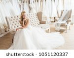 young bride in tulle dress... | Shutterstock . vector #1051120337