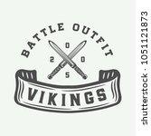 vintage vikings motivational... | Shutterstock .eps vector #1051121873