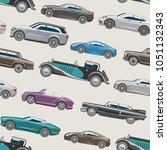 luxury car vector retro auto... | Shutterstock .eps vector #1051132343