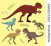 scary dinosaurs vector ... | Shutterstock .eps vector #1051132463