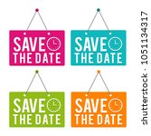save the date with icon hanging ... | Shutterstock .eps vector #1051134317