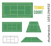 tennis court vector illustration   Shutterstock .eps vector #1051196933