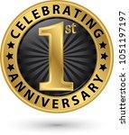 celebrating 1st anniversary... | Shutterstock .eps vector #1051197197