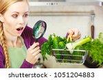 buying healthy dieting food... | Shutterstock . vector #1051204883
