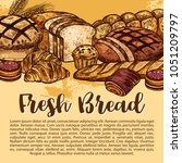 bakery shop sketch poster of... | Shutterstock .eps vector #1051209797