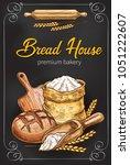 bakery or bread house sketch... | Shutterstock .eps vector #1051222607