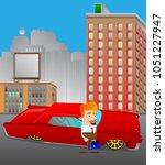 cartoon businessman standing in ... | Shutterstock .eps vector #1051227947