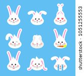 Stock vector bunny emotions character cute easter rabbit heads emoticons vector easter bunny holiday sticker 1051255553