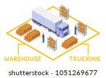 isometric objects. warehouse.... | Shutterstock .eps vector #1051269677