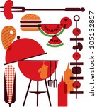 set of bbq objects | Shutterstock .eps vector #105132857