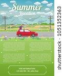 vector illustration of summer... | Shutterstock .eps vector #1051352363