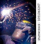 worker with protective mask... | Shutterstock . vector #1051363247