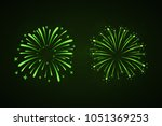 beautiful green fireworks set.... | Shutterstock .eps vector #1051369253