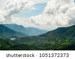 Small photo of Panorama view blue sky and cloudy of nature and top view of mountain and forest in Khao Kho, Phetchabun Province. One of the most popular attractions in Thailand.