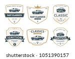 set of muscle car emblems and... | Shutterstock .eps vector #1051390157