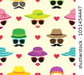 vector seamless pattern with... | Shutterstock .eps vector #1051454447