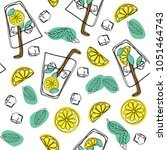 mojito hand draw seamless... | Shutterstock .eps vector #1051464743