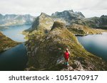woman hiker alone with backpack ... | Shutterstock . vector #1051470917