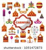 carnival amusement park | Shutterstock .eps vector #1051472873