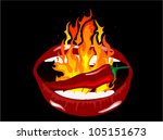 red burning chili pepper in... | Shutterstock .eps vector #105151673
