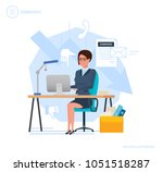 dismissal from work. woman... | Shutterstock .eps vector #1051518287