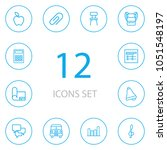 set of 12 science icons line... | Shutterstock .eps vector #1051548197