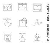 computer 3d printer icon set....