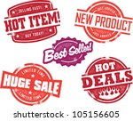 Vintage Retail Store Sale Stamps - stock vector
