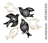 bird silhouette with floral... | Shutterstock .eps vector #1051601333