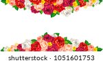 bright red pink white roses and ... | Shutterstock .eps vector #1051601753