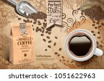 cup of black coffee and paper... | Shutterstock .eps vector #1051622963