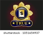 gold shiny badge with book... | Shutterstock .eps vector #1051654937
