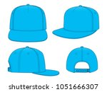 blue hip hop cap   snap back  ... | Shutterstock .eps vector #1051666307