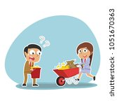 indian business people pushing... | Shutterstock .eps vector #1051670363