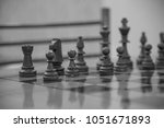 chess club with long tables.... | Shutterstock . vector #1051671893